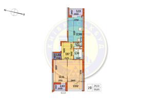 ЖК Курнатовского: планировка 2-комнатной квартиры 59.65 м²