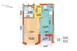 ЖК Курнатовского: планировка 1-комнатной квартиры 37.13 м²