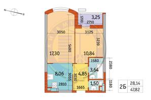ЖК Курнатовского: планировка 2-комнатной квартиры 47.82 м²