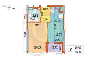 ЖК Курнатовского: планировка 1-комнатной квартиры 36.34 м²