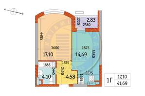 ЖК Курнатовского: планировка 1-комнатной квартиры 41.69 м²