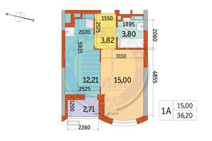 ЖК Курнатовского: планировка 1-комнатной квартиры 36.21 м²