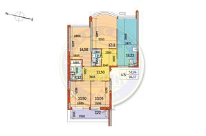 ЖК Курнатовского: планировка 4-комнатной квартиры 94.17 м²