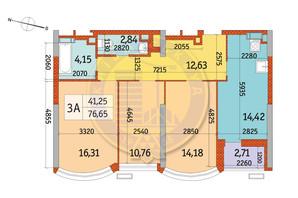 ЖК Курнатовского: планировка 3-комнатной квартиры 76.65 м²