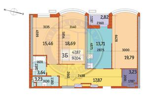 ЖК Курнатовского: планировка 3-комнатной квартиры 97.04 м²
