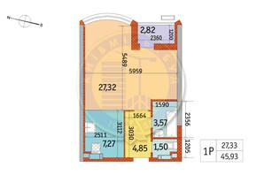 ЖК Курнатовского: планировка 1-комнатной квартиры 45.93 м²