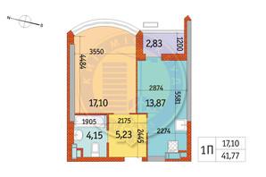 ЖК Курнатовского: планировка 1-комнатной квартиры 41.77 м²