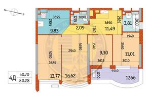 ЖК Курнатовского: планировка 4-комнатной квартиры 80.28 м²
