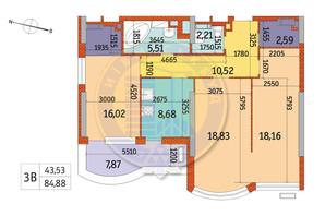 ЖК Курнатовского: планировка 3-комнатной квартиры 84.88 м²