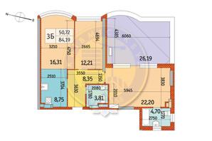 ЖК Курнатовского: планировка 3-комнатной квартиры 84.19 м²