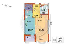 ЖК Курнатовского: планировка 1-комнатной квартиры 46.36 м²