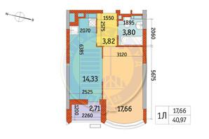 ЖК Курнатовского: планировка 1-комнатной квартиры 40.97 м²
