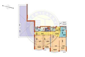 ЖК Курнатовского: планировка 4-комнатной квартиры 106.3 м²