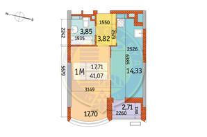 ЖК Курнатовского: планировка 1-комнатной квартиры 41.07 м²