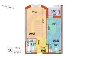 ЖК Курнатовского: планировка 1-комнатной квартиры 45.23 м²