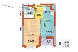 ЖК Курнатовского: планировка 1-комнатной квартиры 36.32 м²