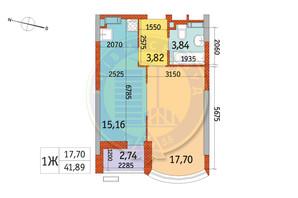 ЖК Курнатовского: планировка 1-комнатной квартиры 41.89 м²