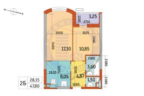 ЖК Курнатовского: планировка 2-комнатной квартиры 47.8 м²