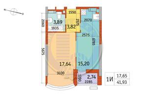 ЖК Курнатовского: планировка 1-комнатной квартиры 41.93 м²