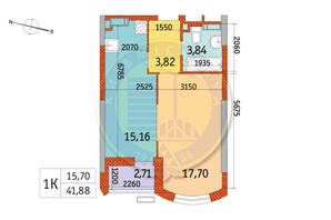 ЖК Курнатовского: планировка 1-комнатной квартиры 41.87 м²