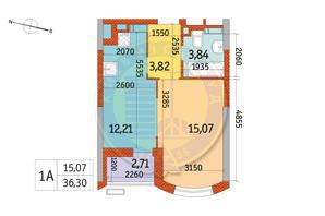 ЖК Курнатовского: планировка 1-комнатной квартиры 36.3 м²