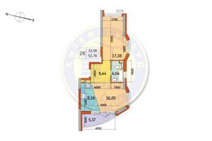 ЖК Курнатовского: планировка 2-комнатной квартиры 52.78 м²