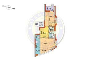 ЖК Курнатовского: планировка 2-комнатной квартиры 54.28 м²