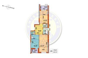 ЖК Курнатовского: планировка 2-комнатной квартиры 60.1 м²