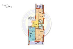 ЖК Курнатовского: планировка 2-комнатной квартиры 60.07 м²