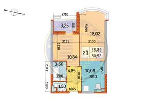 ЖК Курнатовского: планировка 2-комнатной квартиры 50.52 м²