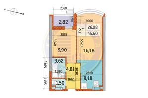 ЖК Курнатовского: планировка 2-комнатной квартиры 45.6 м²