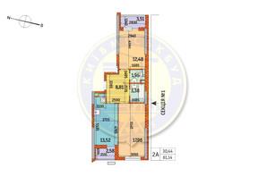 ЖК Курнатовского: планировка 2-комнатной квартиры 61.14 м²