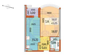 ЖК Курнатовского: планировка 1-комнатной квартиры 45.25 м²