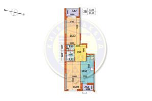 ЖК Курнатовского: планировка 2-комнатной квартиры 61.63 м²