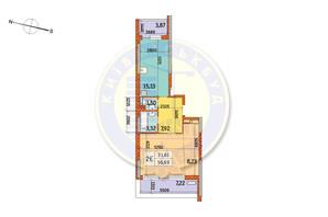 ЖК Курнатовского: планировка 2-комнатной квартиры 56.69 м²