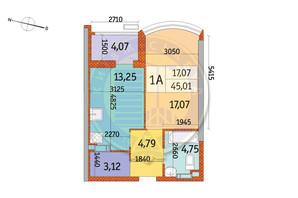 ЖК Курнатовского: планировка 1-комнатной квартиры 45.01 м²