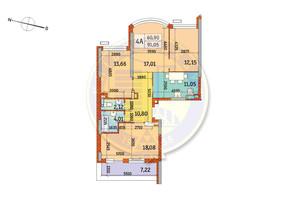 ЖК Курнатовского: планировка 4-комнатной квартиры 91.05 м²