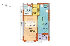 ЖК Курнатовского: планировка 1-комнатной квартиры 41.88 м²