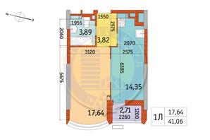 ЖК Курнатовского: планировка 1-комнатной квартиры 41.06 м²