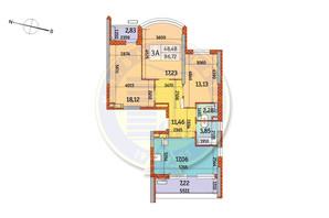 ЖК Курнатовского: планировка 3-комнатной квартиры 86.72 м²