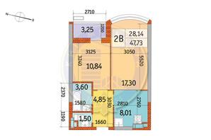 ЖК Курнатовского: планировка 2-комнатной квартиры 47.73 м²