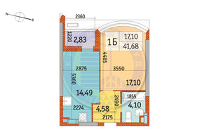 ЖК Курнатовского: планировка 1-комнатной квартиры 41.68 м²