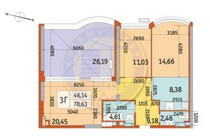 ЖК Курнатовского: планировка 3-комнатной квартиры 78.63 м²