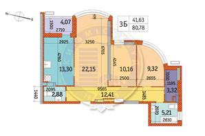 ЖК Курнатовского: планировка 3-комнатной квартиры 80.78 м²