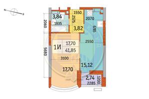 ЖК Курнатовского: планировка 1-комнатной квартиры 41.85 м²