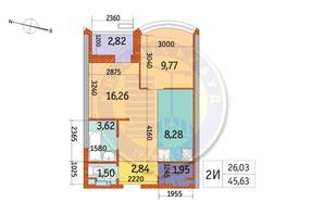 ЖК Курнатовского: планировка 2-комнатной квартиры 45.63 м²