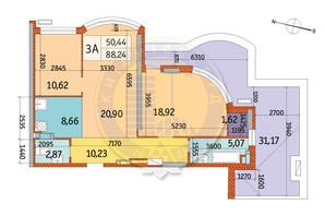 ЖК Курнатовского: планировка 3-комнатной квартиры 88.24 м²