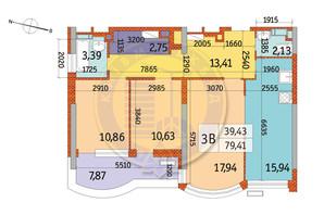 ЖК Курнатовского: планировка 3-комнатной квартиры 79.41 м²