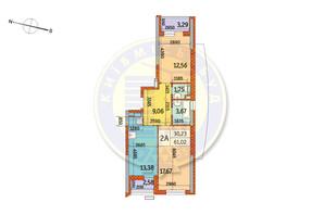ЖК Курнатовского: планировка 2-комнатной квартиры 61.02 м²