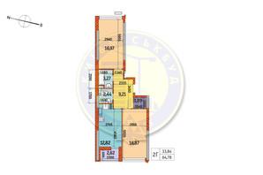 ЖК Курнатовського: планування 2-кімнатної квартири 64.78 м²